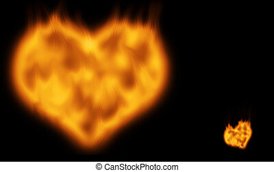 Flaming Heart - Flaming hot burning valentine heart set to...