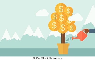 Human hand watering the money tree - A human hand holding a...
