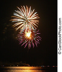 Fireworks 2 - A photograph of a fireworks display near a...