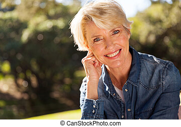 woman closeup portrait - closeup portrait of middle aged...