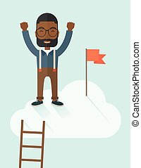 Black man standing on the top of cloud with red flag - A...