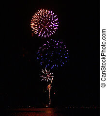 Fireworks 1 - A photograph of a fireworks display near a...