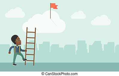 African man with career ladder - An african man standing...