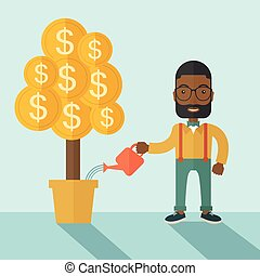 African businessman happily watering the money tree. - An...