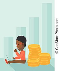 Successful black businessman sitting with a pile of gold. -...