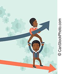 Two black guy in two arrows going up and down.