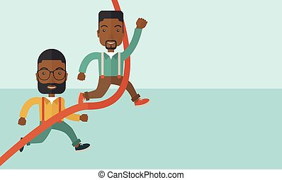 Two african guy running to finish line.