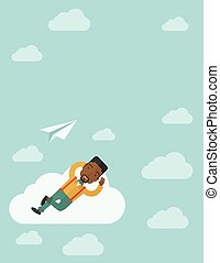 Black man lying on a cloud with paper plane.