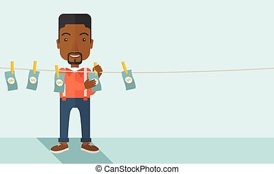 Black buisnessman hang his money - A black businessman...
