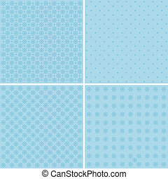 Vector set of 4 background patterns in pale blue