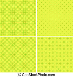 Vector set of 4 background patterns in pale green