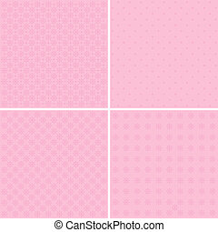 Vector set of 4 background patterns in pale pink