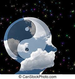 Yin, yang, cabeza, en, nubes,