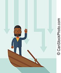 Failure black businessman standing on a sinking boat.
