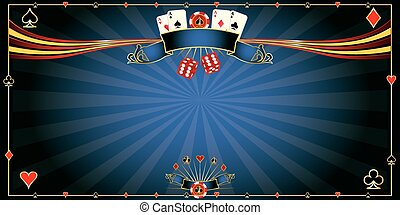 Greeting card blue Casino - A horizonta casinol background...