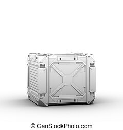 Sci-fi military box on white background - high quality 3d...