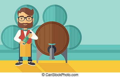 Wine maker inspecting wine from barrel - A wine maker...