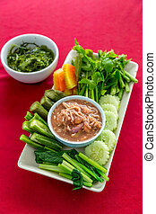 Fresh Shrimp paste chilli sauce with vareity of vegetables...