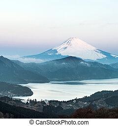 Fuji Mountain Lake Hakone Sunrise - Panorama Mountain Fuji...