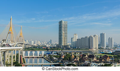 Bangkok cityscape in the morning , capital of Thailand