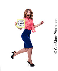 Laughing woman running with clock - Full length portrait of...