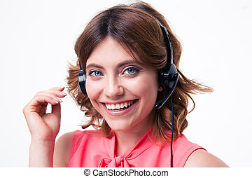 Female customer service operator - Portrait of a happy...