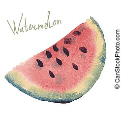 Watercolor illustration of watermelon on texture paper....