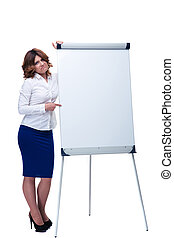 Sad businesswoman pointing finger on flipchart - Full length...