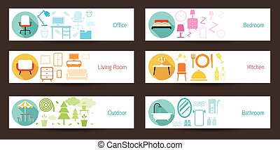 Furniture Concept Banner - Household, Home Interior Objects