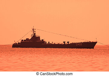 Military ship during sunset - Baku, Azerbaijan