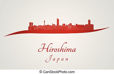 Hiroshima skyline in red and gray background in editable...