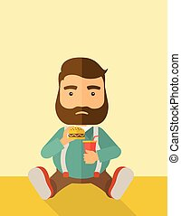 Fat man sitting while eating - A fat man sitting on the...