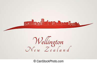 ... Wellington skyline in red and gray background in editable.