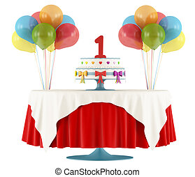 Happy first birthday - Birthday party with round table with...