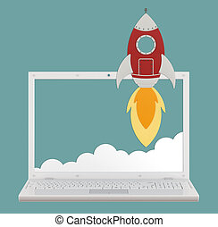 Startup concept - Cartoon rocket with realistic laptop on...
