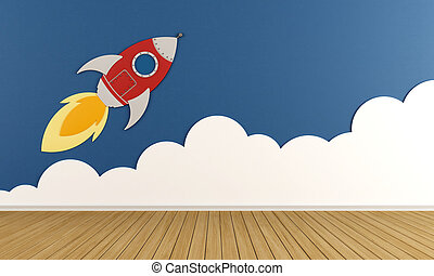 Playroom with rocket and cloud on blue wall - 3D Rendering