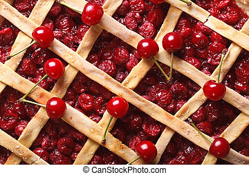 cherry pie macro background. horizontal top view - American...