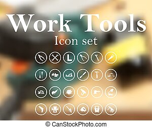 Work tools icon set. EPS 10 vector illustration with mesh...