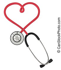 Stethoscope in the form of hearts on a white background