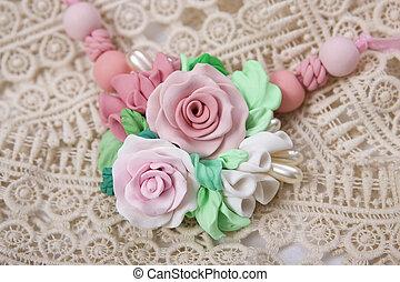 polímero, hecho, tiro, romántico, Jewelery, rosa, floral,...