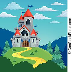 Fairy tale castle theme image 3 - eps10 vector illustration