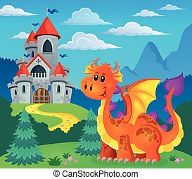 Image with happy dragon theme 5 - eps10 vector illustration.