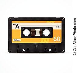 Vector Orange Cassette Tape isolated - Vector Illustration...