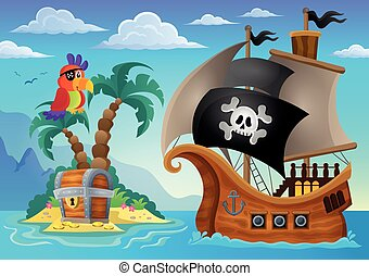 Small pirate island theme 2 - eps10 vector illustration.