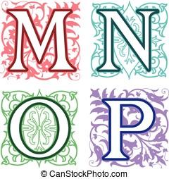M, N, O, P, alphabet letters floral elements - Decorative M,...