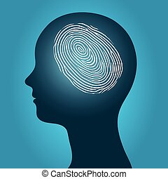 Woman head with an enclosed fingerprint - Conceptual vector...