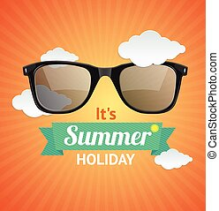 Vector sunglasses summer card background