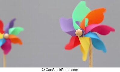 toy pinwheel on gray background