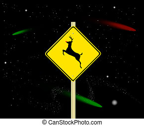Reindeer Crossing Sign - Reindeer Sign with Red Nose in...