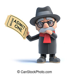 3d Old man holding a cinema ticket - 3d render of an old man...